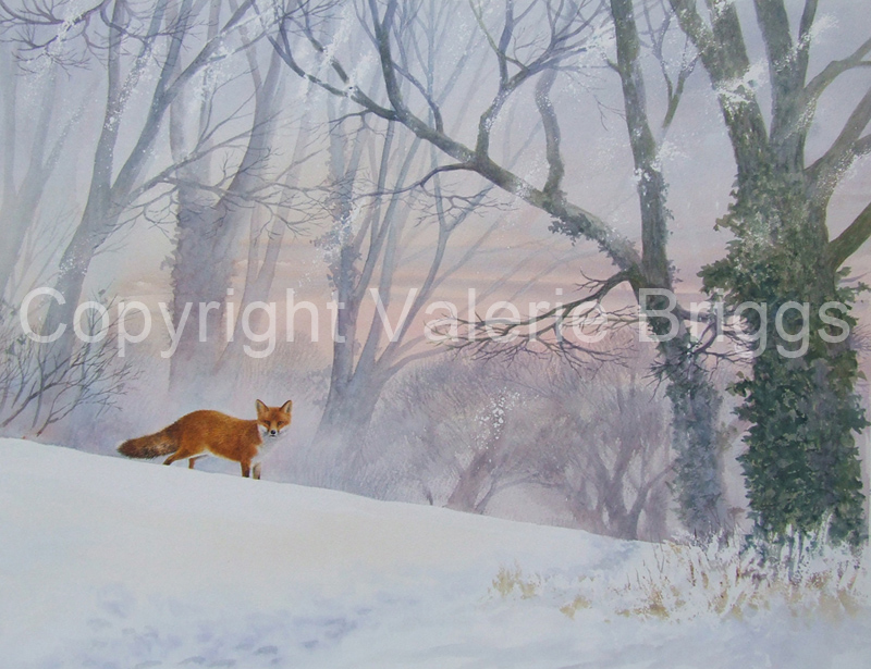 On a Cold and Crispy Morning Watercolour framed size 92 x 75 cms Sold