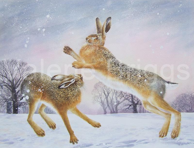 Snow Fight Watercolour Image Size 38 x 51 cms